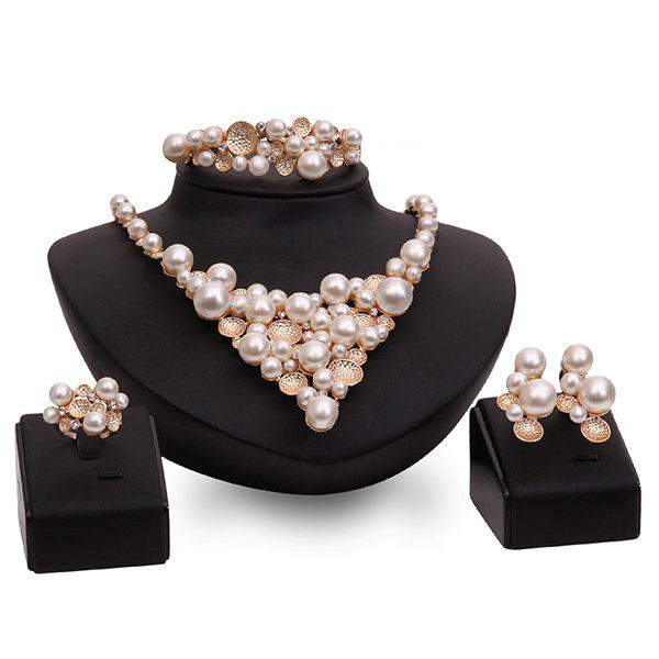 Delicate Faux Pearl Beads Etched Round Fake Collar Necklace Set For Women