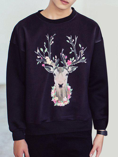 Cute Deer and Flower Print Long Sleeves Black Sweatshirt For Men - BLACK XL