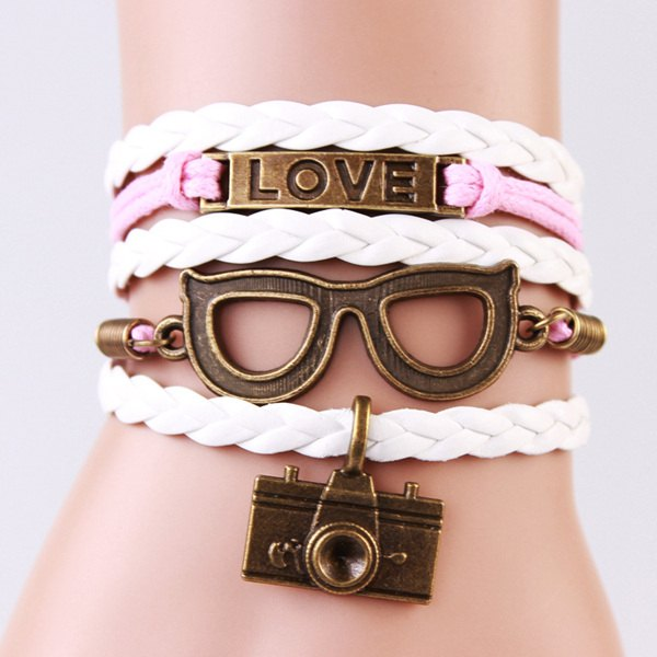Trendy Glasses Camera Strand Bracelet For Women -  COLORMIX