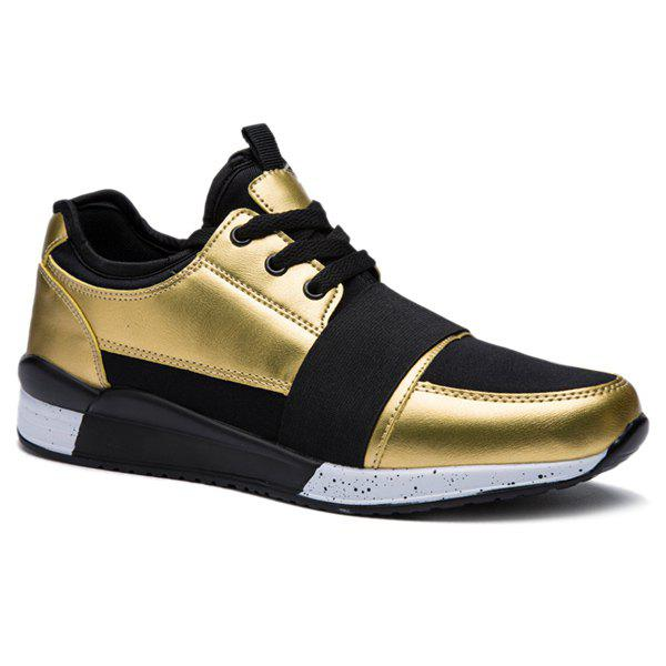 Trendy Elastic Band and Metallic Color Design Men's Athletic Shoes - GOLDEN 43