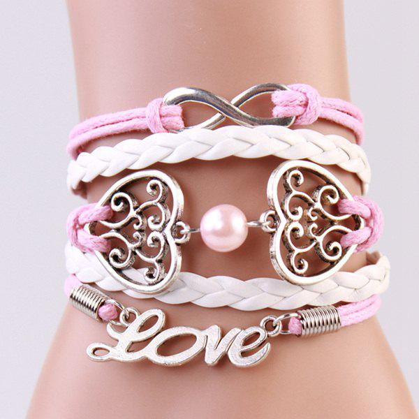 Trendy Hearts Infinite Strand Bracelet For Women - PINK