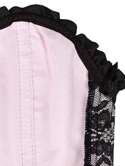 Alluring Lace-Up Bowknot Embellished Women's Corset - LIGHT PINK S