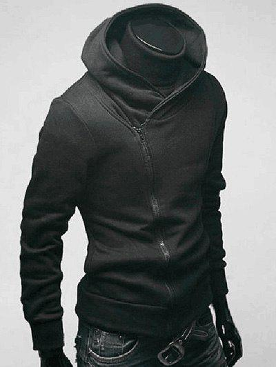 Side Zip Up Long Sleeve Men's Plain Hoodie