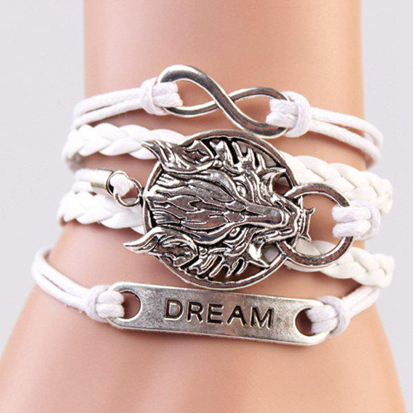 Punk Wolf Head Infinite Strand Bracelet - WHITE