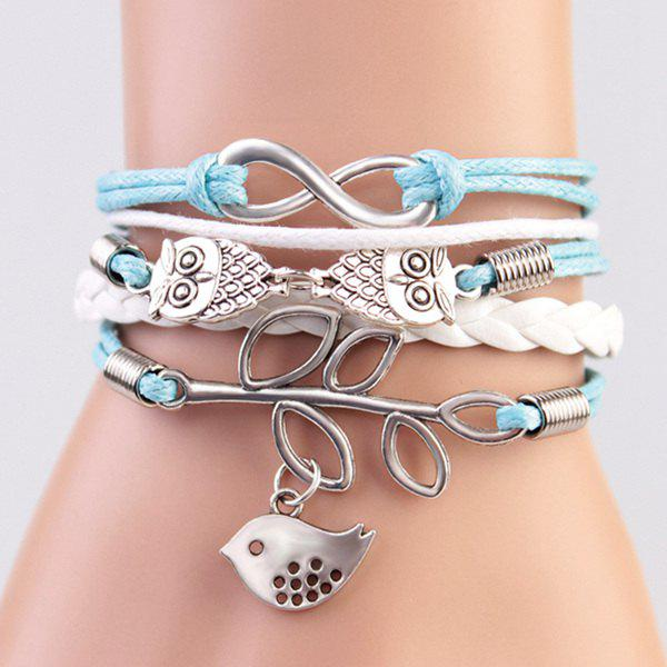 Trendy Owl Birdie Strand Bracelet For Women - BLUE