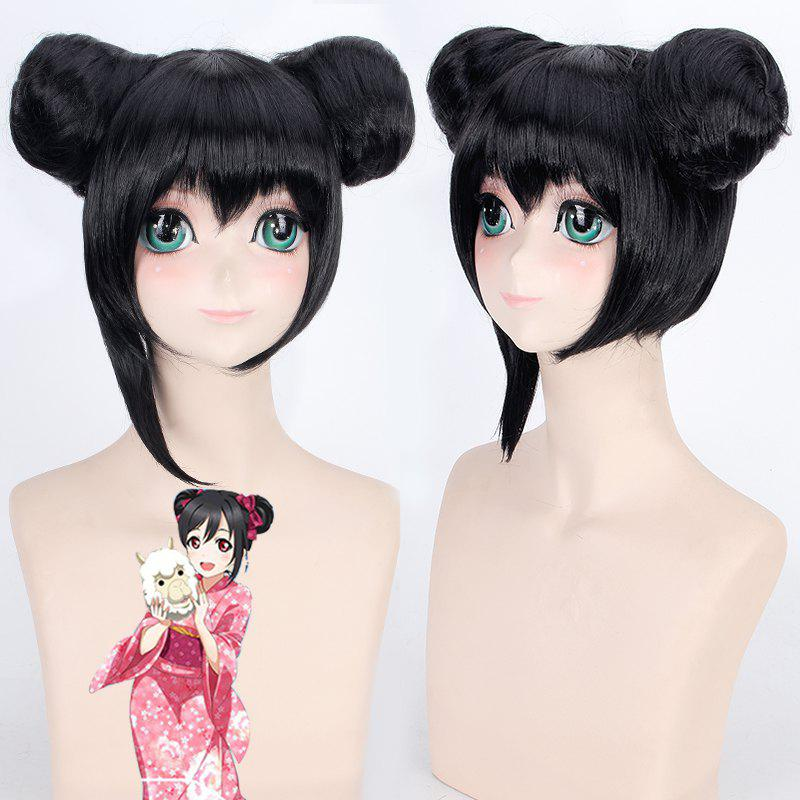 Fashion Short With Double Chignons Love Live Yazawa Nico Awake Kimono Uniform Style Cosplay Wig - BLACK