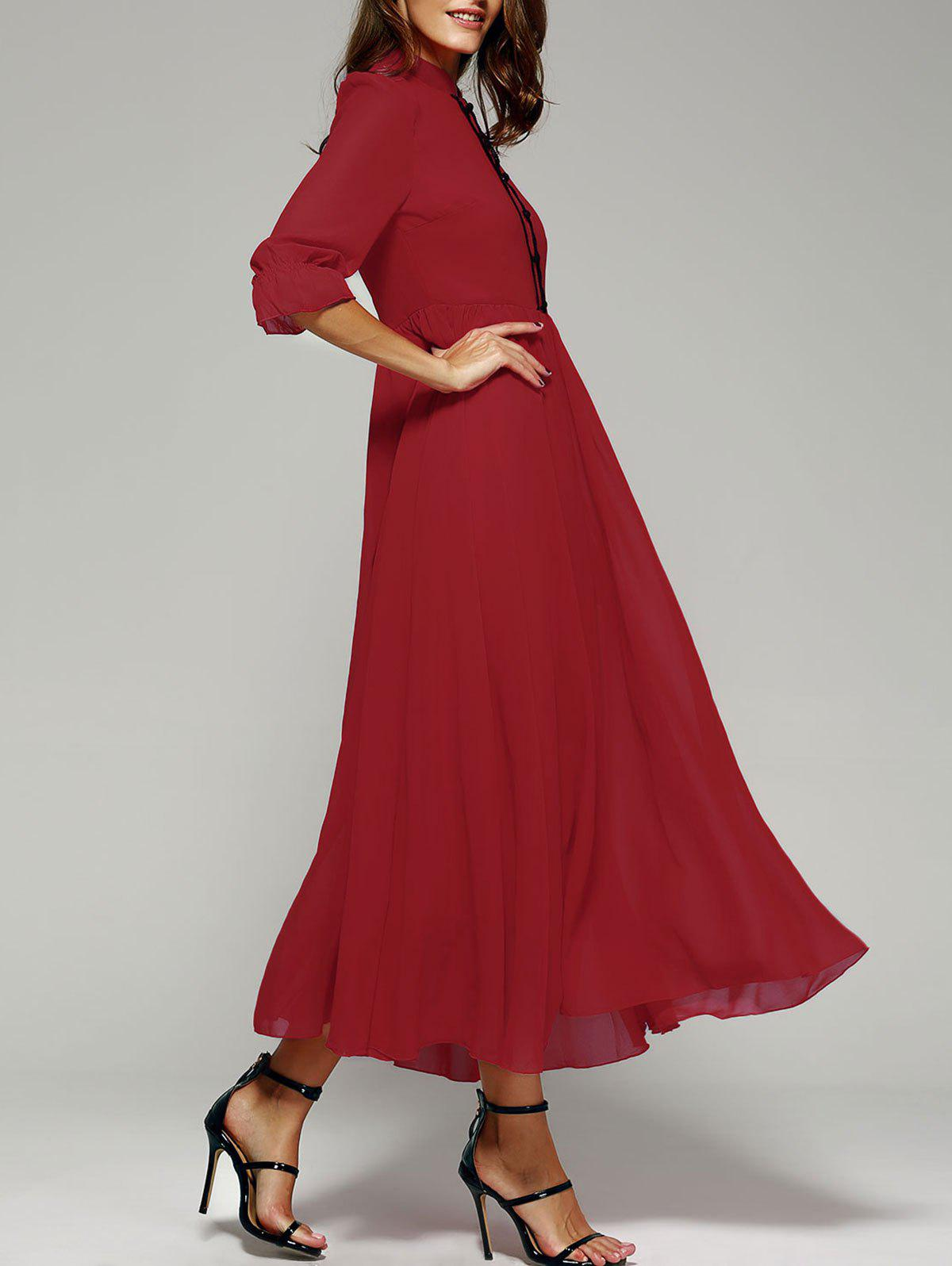 Stand Collar Long Swing Chiffon Formal Plain Prom Maxi Dress - RED XL