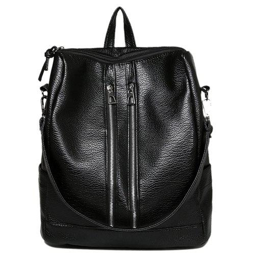 Fashionable Zippers and Black Design Women's Backpack - BLACK