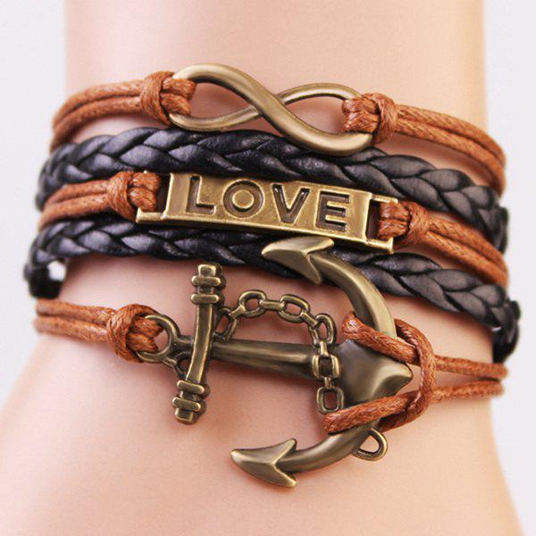 Casual Anchor Infinite Strand Bracelet - COFFEE