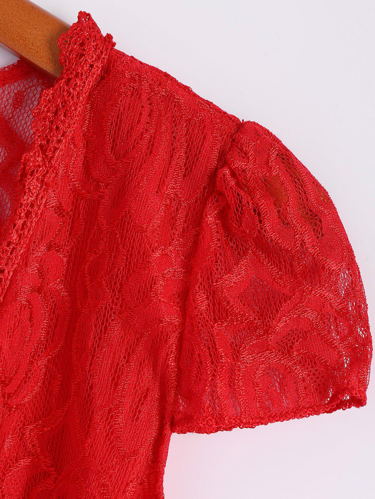 Sexy Short Sleeve Plunging Neck Solid Color Lace Women's Dress - RED XL