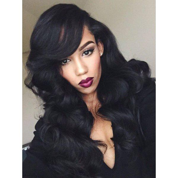 Women's Fluffy Long Wavy Side Bang Black Synthetic Hair Wig