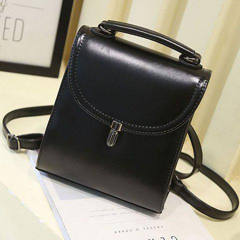 Simple Solid Color and PU Leather Design Women's Backpack - BLACK