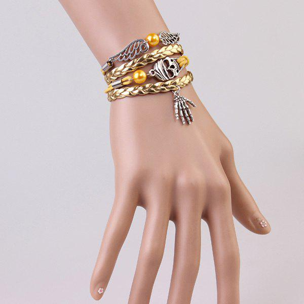 Punk Skull Wings Strand Bracelet - GOLDEN