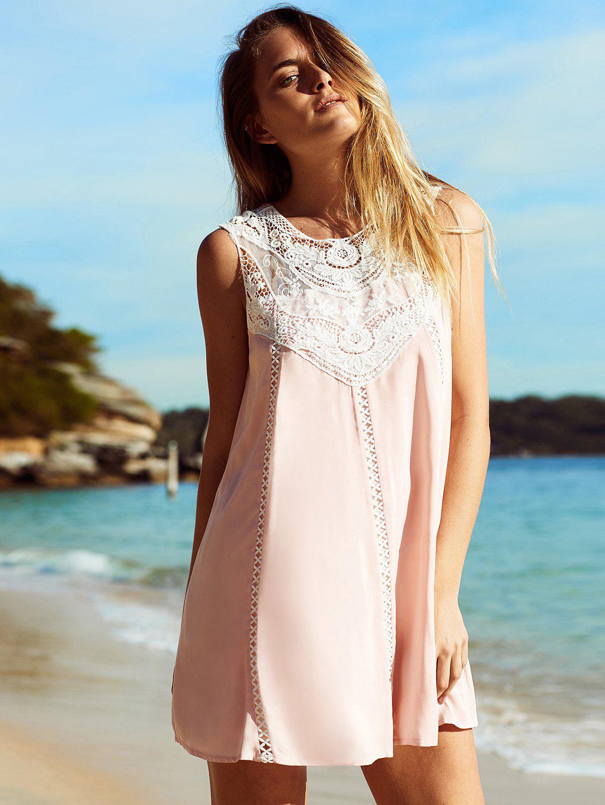 Stylish Cut Out Lace Spliced Mini Dress For Women - SHALLOW PINK XL