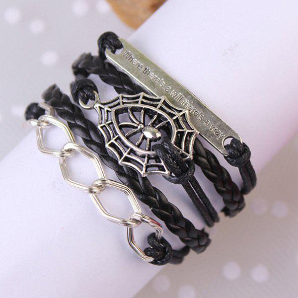 Punk Spider Web Hollowed Strand Bracelet - BLACK