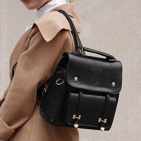 Trendy Metal and Magnetic Closure Design Women's Satchel - BLACK