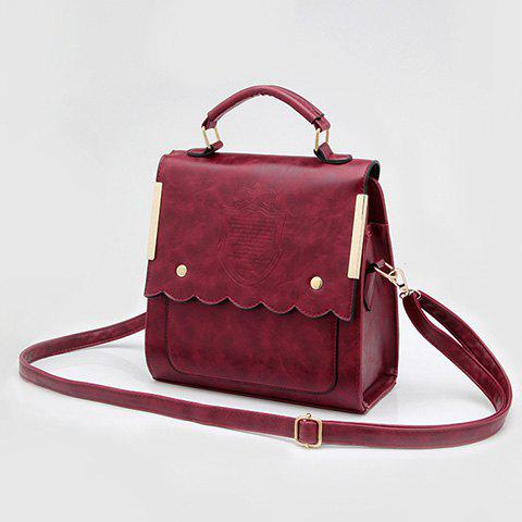 Trendy Metal and Scalloped Edge Design Women's Shoulder Bag - WINE RED
