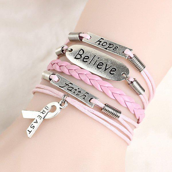 Letters Layered Strand Bracelet - PINK