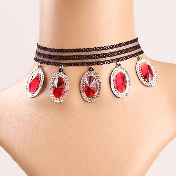 Trendy Rhinestone Lace Choker Necklace For Women - RED