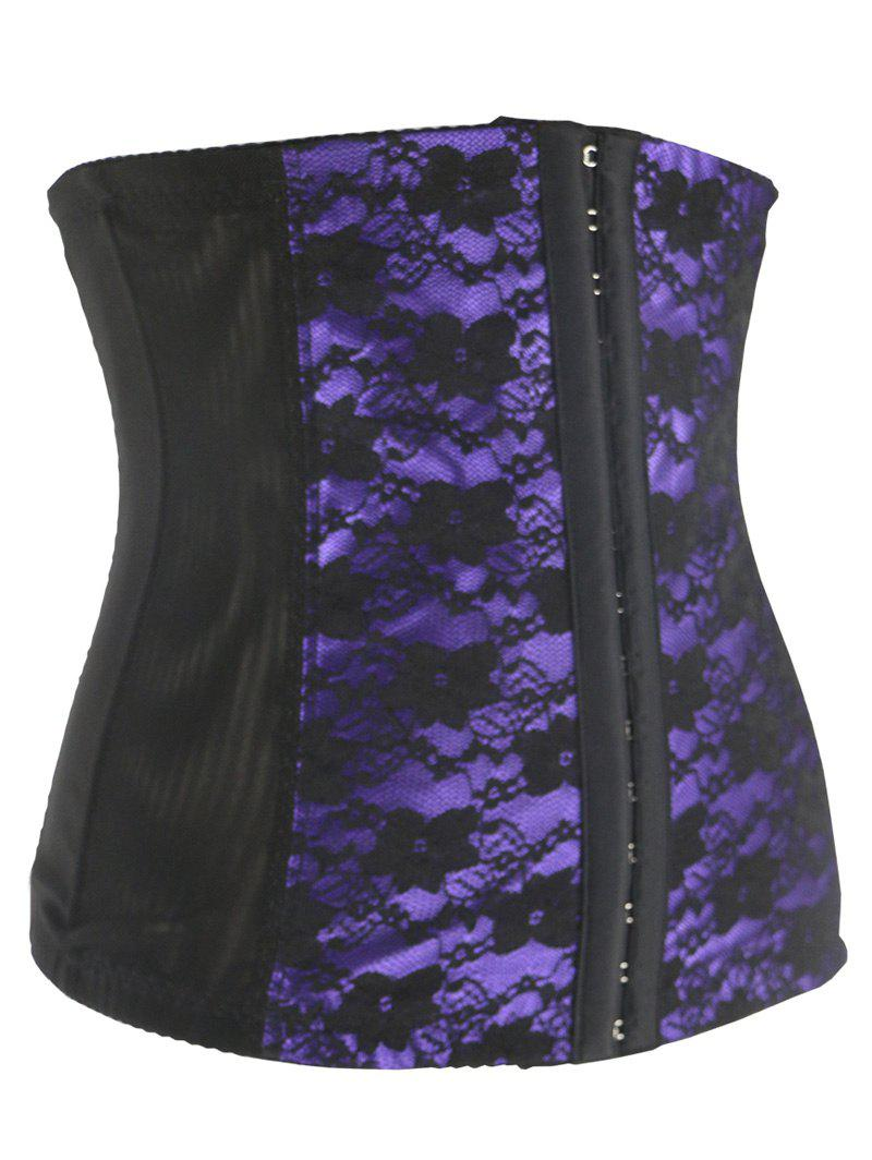 Stunning Floral Spliced Tight Lacing Corset - PURPLE 2XL