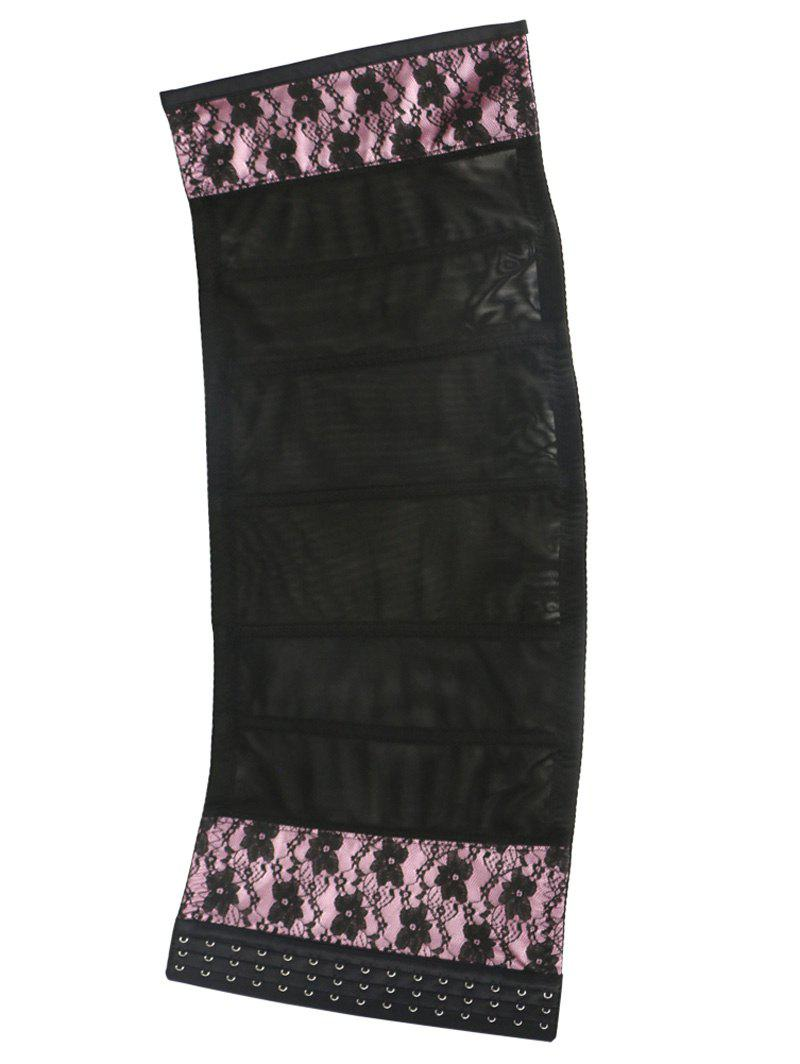Stunning Floral Spliced Tight Lacing Corset - PINK 4XL