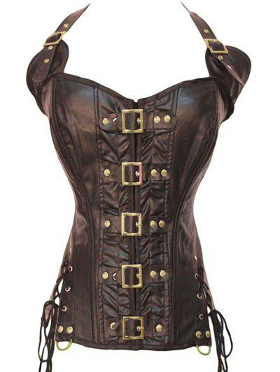 Stunning Gothic Lace Up Halter Latex Corset - COFFEE S