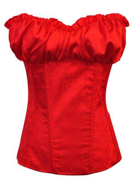Stunning Lace Up Ruffle Paisley Print  Corset With G-String - RED M