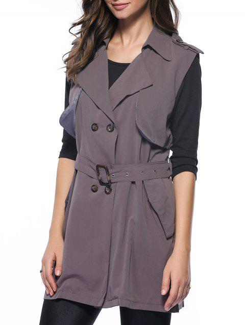Graceful Belted Double-breasted Flounce long Waistcoat - DEEP GRAY S
