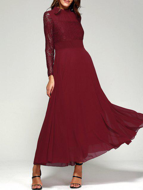 Lace Panel Long Sleeve Chiffon Maxi Formal Prom Dress - WINE RED M