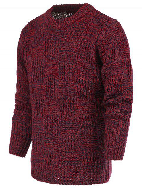 Ribbed Plaid Pattern Crew Neck Long Sleeve Men's Sweater - RED 2XL