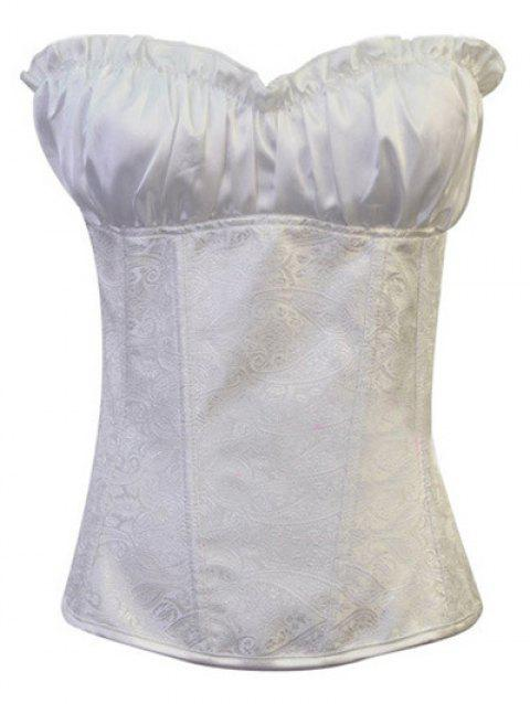 Stunning Lace Up Ruffle Paisley Print  Corset With G-String - NATURAL WHITE LIGHT 4XL