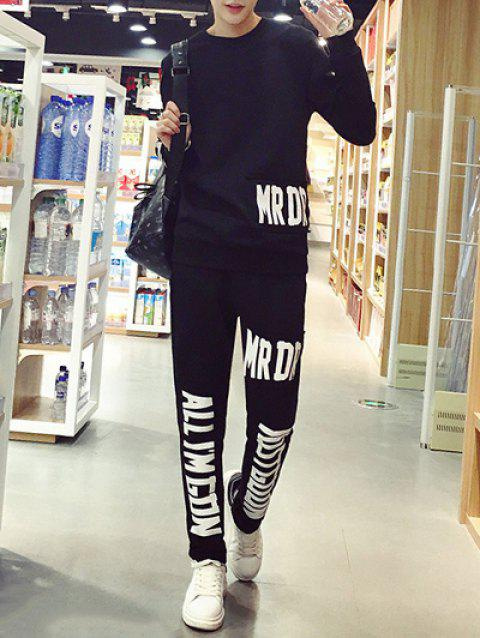 Patchwork Desigh Letter Print Sweatshirt + Casual Pants Twinset For Men - BLACK L
