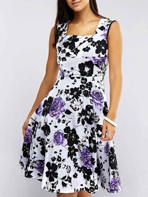 Retro Women's Sleeveless Floral Print Flare Dress - LIGHT PURPLE S