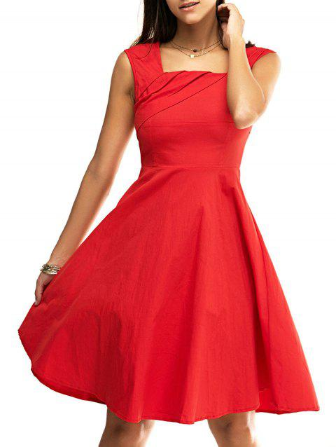 Retro Women's Pure Color Ruched Flare Dress - RED S