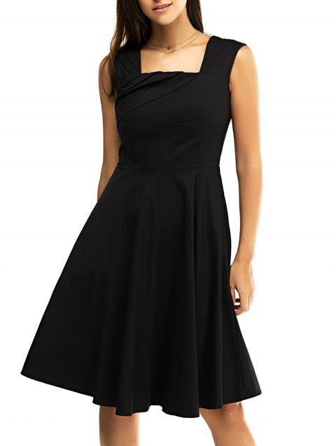 Retro Women's Pure Color Ruched Flare Dress - BLACK S