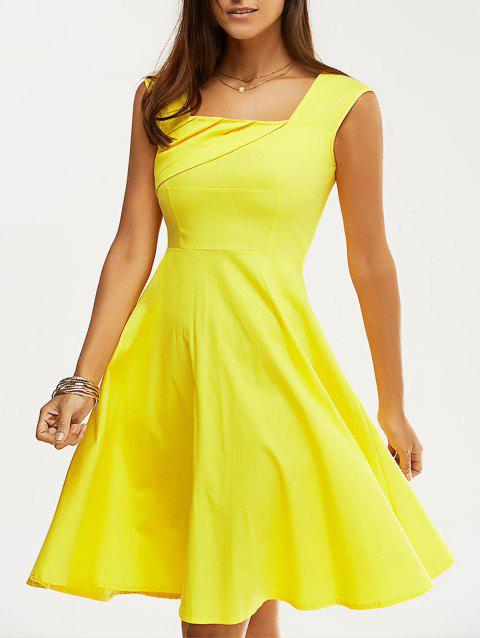 Retro Women's Pure Color Ruched Flare Dress - YELLOW XL