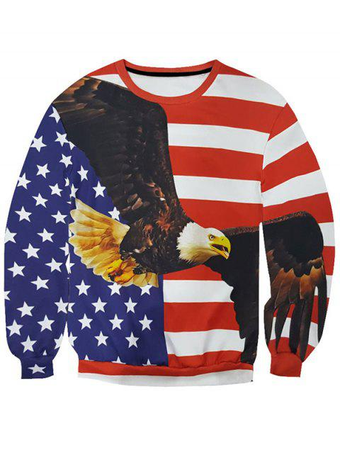 Round Neck Long Sleeve 3D Star and Stripe Eagle Print Men's Sweatshirt - COLORMIX 2XL