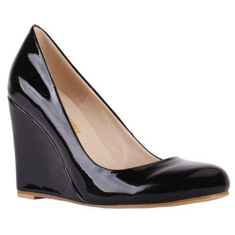 Trendy Round Toe and Patent Leather Design Women's Wedge Shoes - BLACK 38
