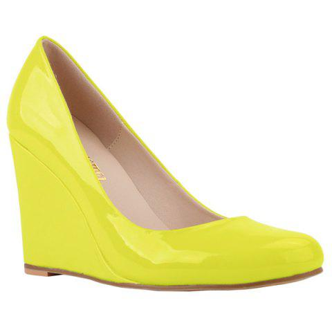 Trendy Round Toe and Patent Leather Design Women's Wedge Shoes - YELLOW 41