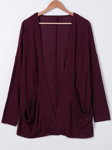 Shawl Collar Pockets Solid Color Long Sleeves Cardigan - WINE RED ONE SIZE
