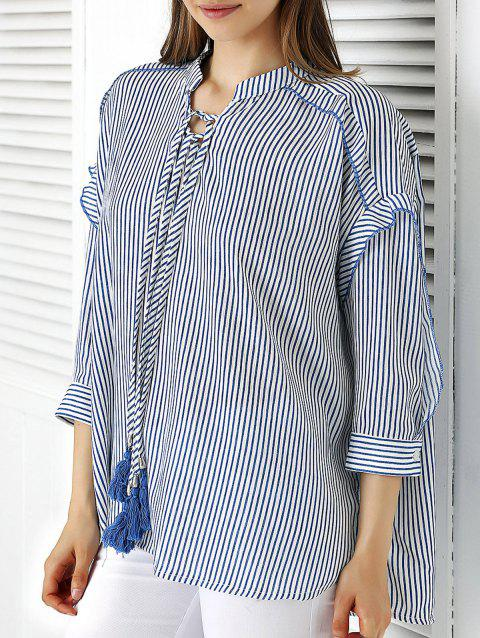 Sweet Striped Tie Front Shirt - BLUE ONE SIZE(FIT SIZE XS TO M)