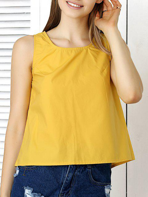 Back Slit Bowknot Embellished Crop Top - YELLOW ONE SIZE(FIT SIZE XS TO M)