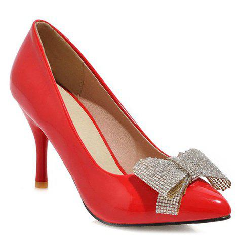 Fashionable Stiletto Heel and Bowknot Design Women's Pumps - RED 43