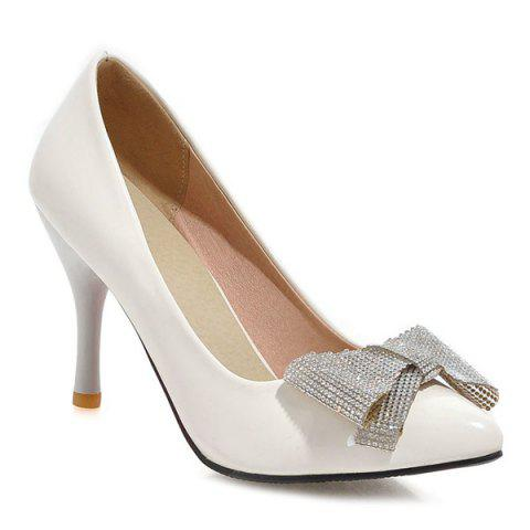 Fashionable Stiletto Heel and Bowknot Design Women's Pumps - WHITE 43