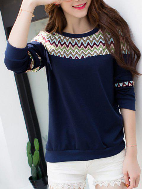 Wave Striped Crew Neck T-Shirt - PURPLISH BLUE L