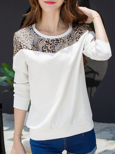 Lace Panel Long Sleeve Crew Neck T-Shirt - WHITE M