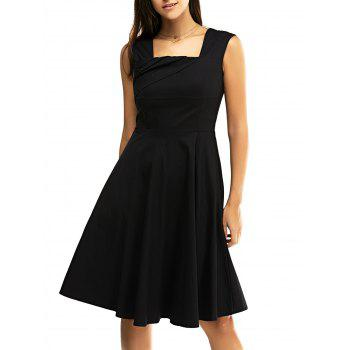 Buy Retro Women's Pure Color Ruched Flare Dress BLACK