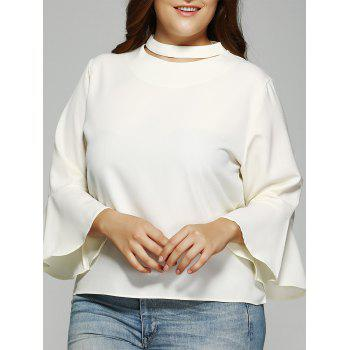 Trendy Solid Color Flare Sleeve Loose Fitting Blouse - OFF-WHITE XL