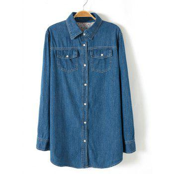 Plus Size Brief Buttoned Long Denim Shirt - DEEP BLUE L