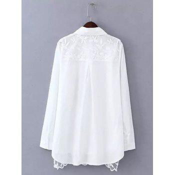 Plus Size Sweet Flower Embroidered Long Shirt - WHITE L